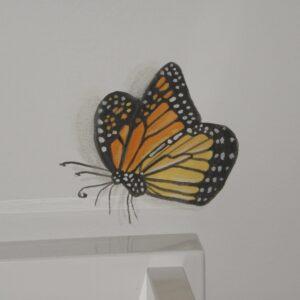 3D muurschildering van een vlinder voor in de babykamer