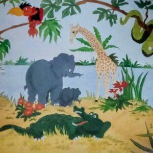 botanische muurschilderingen jungle dieren met veel groen voor in de kinderkamer