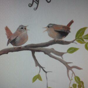 Muurschildering Babykamer vogels op takje