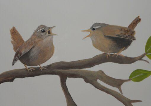 Muurschildering babykamer vogeltjes op tak