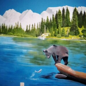Muurschildering Beer op een boomstam op een meer evtl voor in de kinderkamer