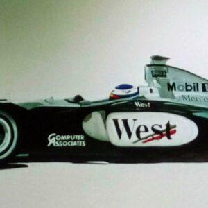 Muurschildering van een formule 1 racewagen voor in de kinderkamer