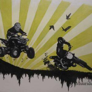 Muurschildering quad en crossmotor voor in de kinderkamer of tienerkamer