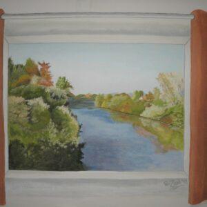 Muurschildering van landschap uit raam