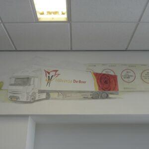 Muurschildering vrachtwagen Hilverda De Boer
