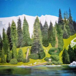 Muurschilderingen Bos met meer