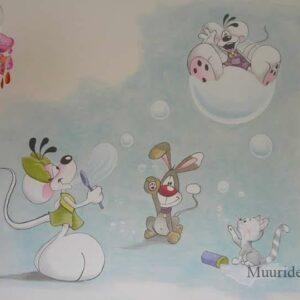 Muurschilderingen Diddl voor in de kinderkamer