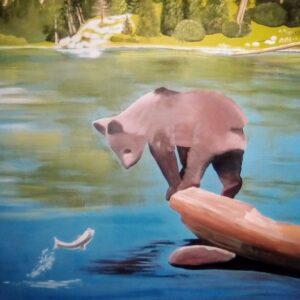Muurschilderingen beer die naar een vis kijkt