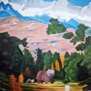 Muurschilderingen beren familie in de natuur