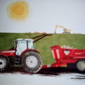 Muurschilderingen boerderij met trekkers - tractor