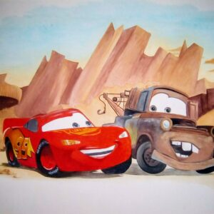 Muurschilderingen kinderkamer van cars kinderfilm
