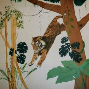 Muurschilderingen kinderkamer jungle met tijger