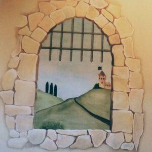 Muurschildering kasteelpoort voor in de kinderkamer