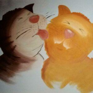 Muurschilderingen van 2 katten voor in de kinderkamer