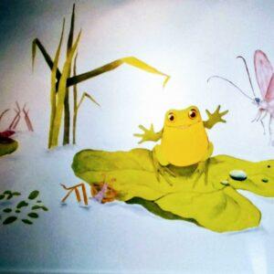 Muurschilderingen kinderkamer kikker in het moeras