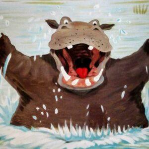 Muurschilderingen kinderkamer blij nijlpaard