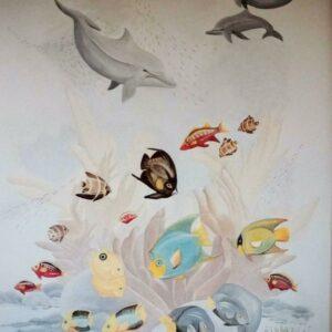 Muurschilderingen kinderkamer zee met dolfijnen en vissen