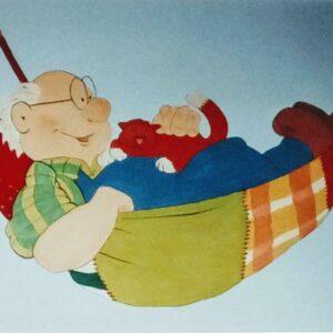 Muurschilderingen kinderkamer opa met een rode kat in een hangmat