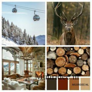 moodboard met bruin kleurenpalet, chelet, skilift en hertenkop, bedoeld om muurschildering in chalet-stijl te maken