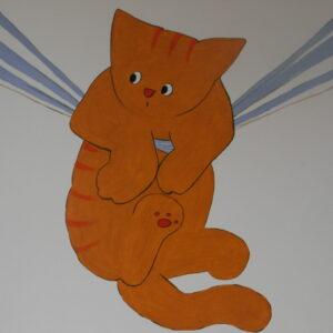 muurschildering babykamer met kat