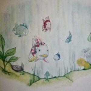 Muurschildering Babykamer met goudvisjes