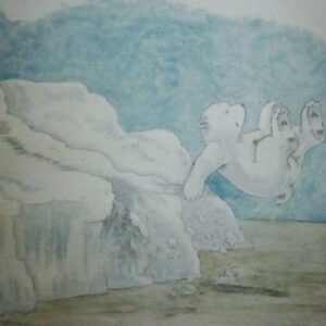 Muurschildering Babykamer met ijsbeer