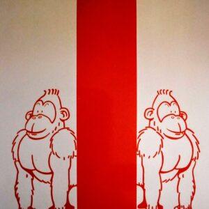 Muurschildering babykamer met twee aapjes