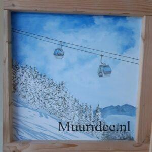 muurschildering van bergen uitzicht met skilift