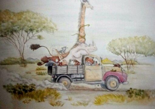 Botanische muurschildering, dieren van de jungle in een auto