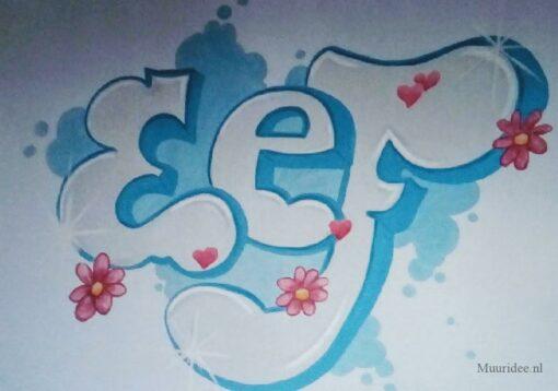 muurschildering graffiti met naam voor in de kinderkamer