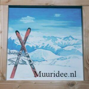 muurschildering bergtoppen met ski's