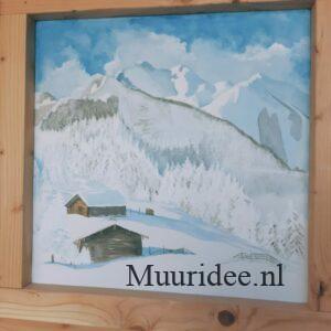 muurschildering berghutjes in de alpen