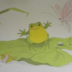 muurschildering van een kikker, muurschildering babykamer