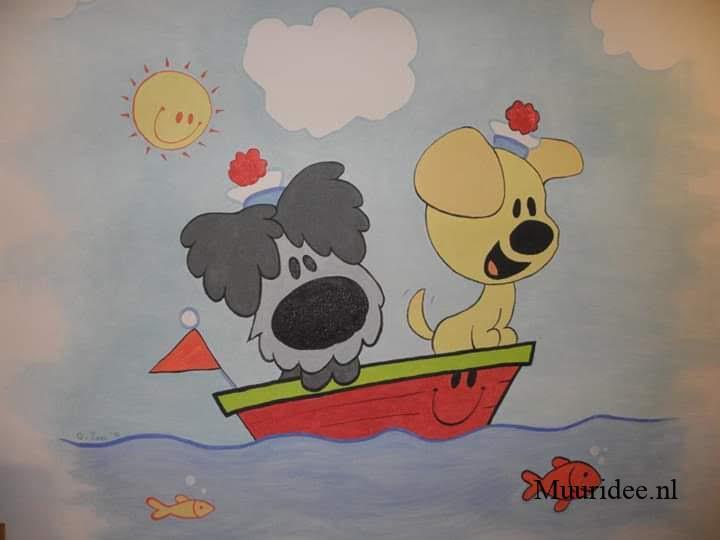 Woezel & Pip muurschildering voor in de babykamer