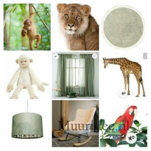 moodboard om een babykamer te maken met muurschilderingen van jonge jungle dieren en bijpassende groen en bruintinten als rest van de inrichting