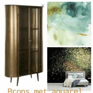moodboard voor huiskamerinrichting, een ovale kast van brons met aquarel blauw groen goud bronzen achtergrond of confetti groen goud achtergrond