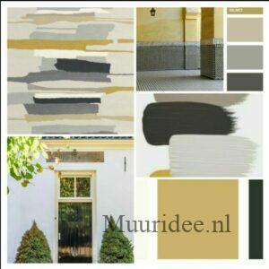 moodboard om een monumentaal huis van de kleuren wit, grijs, oker en zwart te voorzien.