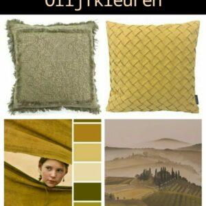 moodboard om een kamer in italiaanse sfeer in te richten met een zelfgemaakte olijfkleurige muurschildering en geel groene kussens