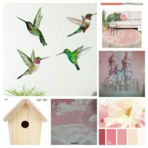 moodboard om roze meisjeskamer in te richten met muurschilderingen en decoratie materialen