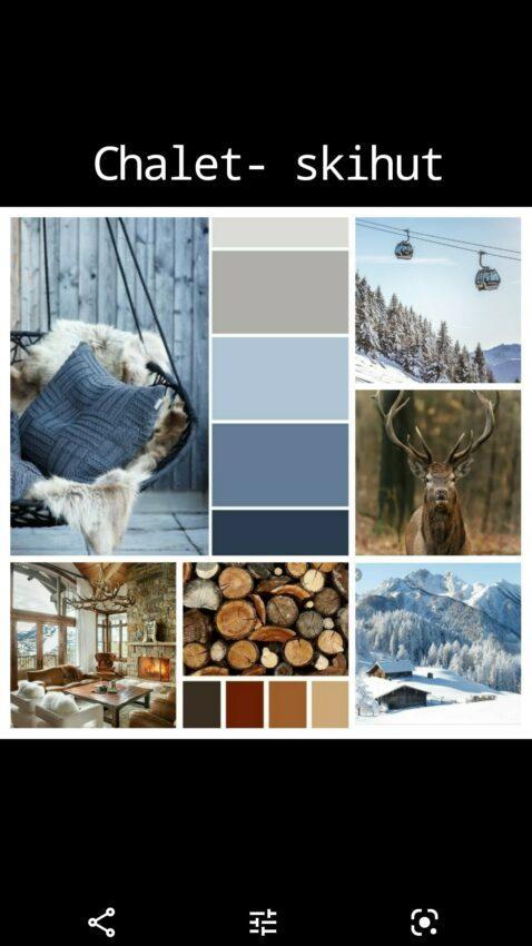 moodboard om skihut - chalet in te richten met hout, rendier, sneeuw, bergen en blauw