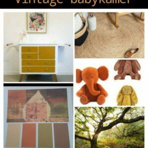 moodboard om een vintage babykamer in te richten met oker, groen en oranje kleuren gecombineerd met een muurschildering met bosdieren